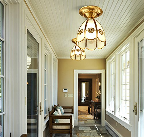 Yue Jia European American Style Ceiling Light Brass Body Frosted Glass Shade Tiffany Corridor Ceiling Lamp (YJ8650) by YUEJIA (Image #2)
