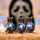 Impress Life Halloween Party String Lights, Black Cat Shape 10 ft Silver Wire 40 LEDs Battery Operated with Dimmer Remote & Timer for Indoor, Covered Outdoor, All Saints' Eve Parties, Mantle Fireplace