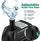 Rendio 396 GPH Submersible Water Pump w/4.9ft Power Cord   Aquarium, Fish Tank, Fountain, Pond, Hydroponics (396PH)