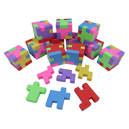 Geometric Puzzle Colorful Erasers for Pencils | Back to School Supplies, Party Goodies, Fun Activities Puzzle, Party Favors School Erasers (12 Pack)