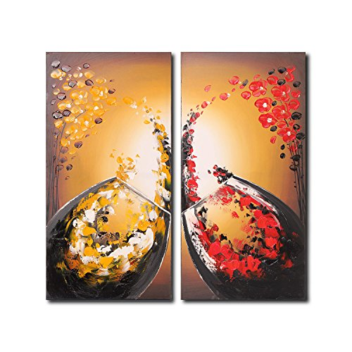 VASTING ART 2-Panel 100% Hand-Painted Oil Paintings Flower Petals Wine Glass Landscape Modern Abstract Artwork Art Canvas Stretched Wood Framed Ready Hang Home Decoration Wall Decor Bedroom Living