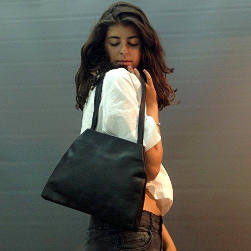 Dark Brown Croc - Handmade Small leather bag Dark Brown lightweight glossy casual / evening purse handbag