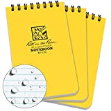 "Rite in the Rain All-Weather Top-Spiral Notebook, 3"" x 5"", Yellow Cover, Universal Pattern, 3-Pack(No. 135-3)"