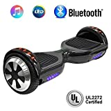 NHT 6.5'' Hoverboard Electric Self Balancing Scooter Sidelights - UL2272 Certified Black, Blue, Pink, Red, White or Chrome Style (102 Black)