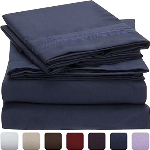 Mellanni Bed Sheet Set Brushed Microfiber 1800 Bedding Wrinkle Fade Stain Resistant Hypoallergenic 4 Piece Queen Royal Blue
