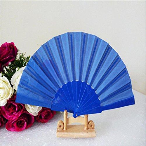 Folding Hand Fan,GOODCULLER Pattern Folding Dance Wedding Party Lace Silk Folding Hand Held Solid Color Fan (L)