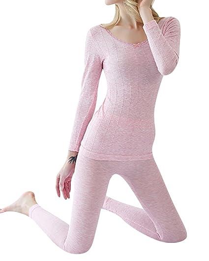 Anyu Mujer Cuello Redondo Conjunto Termico Invierno (Chaqueta&Pantalones Larga) Ropa Interior Conjunto de Pijama
