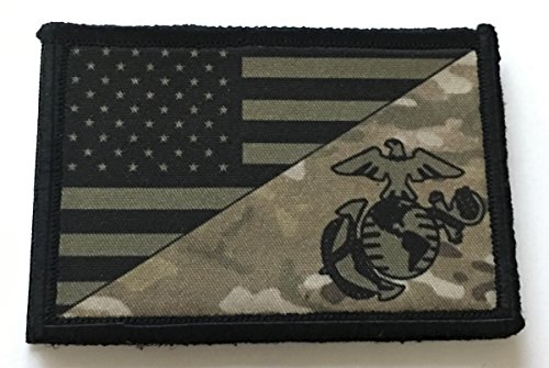 USMC Marine Corps USA Flag (Multicam) Morale Patch Military Tactical. Made in the USA Army Gear, Backpack, Operator Baseball Cap, Plate Carrier or Vest. 2x3 (Subdued Marine)