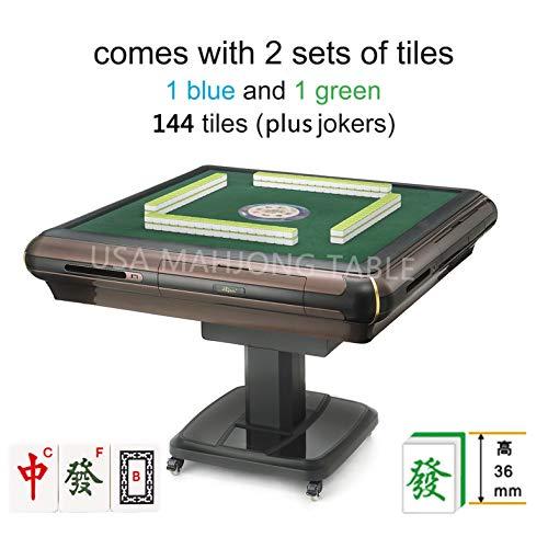 东方不败 Foldable Folding Automatic Mahjong Table with Wheels - Chinese Style, Philippine Style, Comes 2 Sets of 36mm Tiles 小尺寸麻将牌(Blue & Green) & Table Cover ()