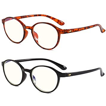 b4f51a73be REAVEE Round Reading Glasses Blue Light Blocking TR90 Flexible Computer  Readers Yellow Tinted Lens Black