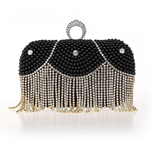 Kaxidy Fashion Elegant Cristal Tassels Imitation Pearl Evening Bags Purses Clutch Bag Handbag (Black) (Clutch Cristal)