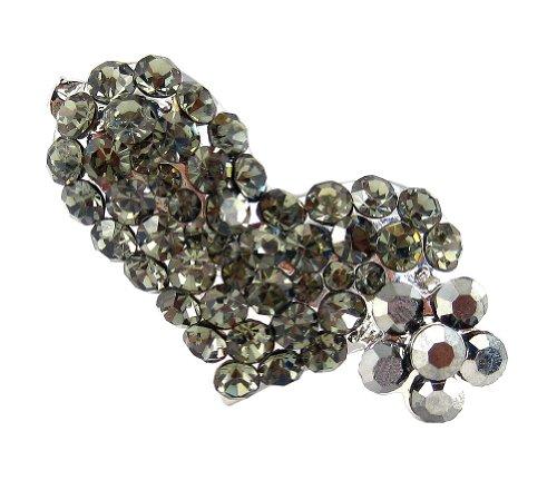 Crystal Double Hearts Hair Clip - Gray ()