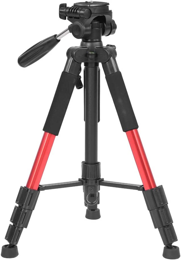 Non-Slip Rubber Feet and Bag for SLR DSLR Digital Camera V BESTLIFE Foldable Tripod,Portable Travel Camera Lightweight Tripod with Load-Bearing Hook Red