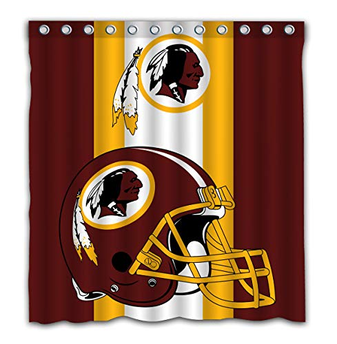 Potteroy Washington Redskins Team Simple Design Shower Curtain Waterproof Mildew Proof Polyester Fabric 66x72 Inches