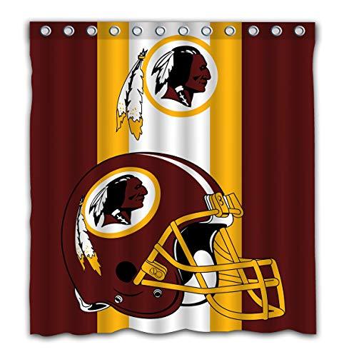 Potteroy Washington Redskins Team Simple Design Shower Curtain Waterproof Polyester Fabric 66x72 -