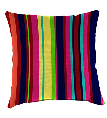 (Classic Polyester Decorative Outdoor Throw Pillow, 22'' sq. x 8'' - Fiesta Stripe)