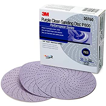 3M Hookit Purple Clean Sanding Disc 334U, 30760, 6 in, P800 grade, 50 discs per carton