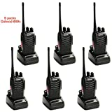 Ammiy Galwad 6 PCS Walkie Talkie Radio Galwad-888S Portable Ham CB Two Way Radio Handheld UHF 400-470MHz Transceiver Interphone With Rechargeable Li-ion Battery Headphones Charger (Pack of 6)