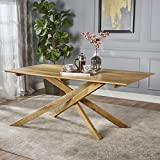 Great Deal Furniture | Gallow | Mid Century Modern Solid Mango Wood Dining Table | with Natural Finish For Sale