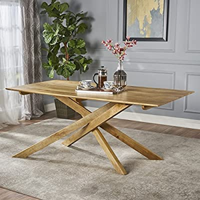Christopher Knight Home Gallow | Mid Century Modern Solid Mango Wood Dining Table | with Natural Finish - This unique cross base is sure to be a conversation starter at your next dinner. This high quality wooden table is a must have for any home. Made with top grade materials, this table is sure to be in your family for years to come Includes: One (1) Dining Table Material: Solid Mango Wood | Finish: Natural - kitchen-dining-room-furniture, kitchen-dining-room, kitchen-dining-room-tables - 51tLYdFx1JL. SS400  -