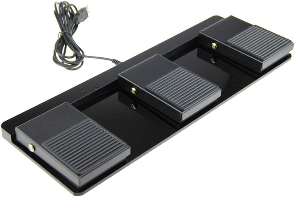 Triple Foot Switch Pedal USB Gaming Keyboard Wired Non Slip Metal Momentary Electric Power Foot Switch