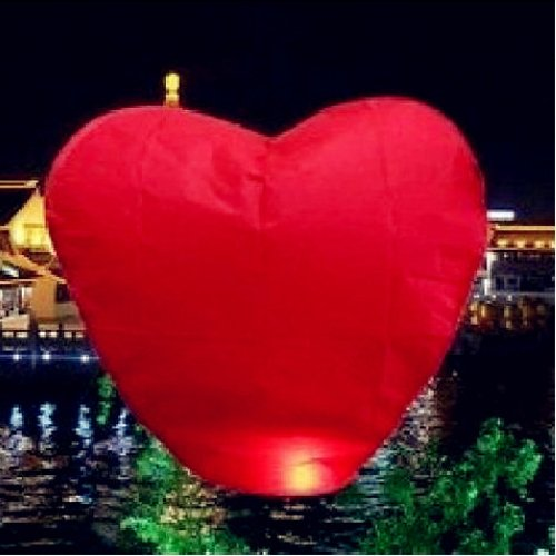 MicroMall(TM) 10 Red Heart Sky Lanterns ()