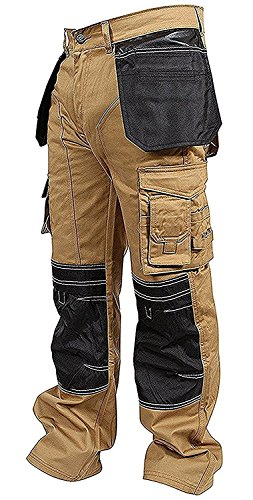 Newfacelook Mens Work Trousers Cargo Trousers Knee Holster Pockets Security