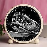 GIRLSIGHT Alarm Clock, Bedroom Tabletop Retro Portable Clocks with Nightlight Custom Designs Dinosaurs 718_Tarbosaurus, Dinosaur, Museum, Bone, Bones, Skull, Head