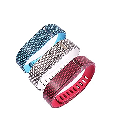 3PC Fitbit Charge HR Smart Watch Band with Color Red/White/Blue,Large