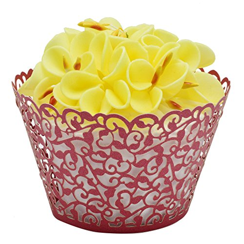 (BETOP HOUSE Vine Lace 50-Piece Cupcake Wrappers (Red))