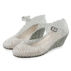 Silver Jelly Wedge Crystal Sandal With High Heel