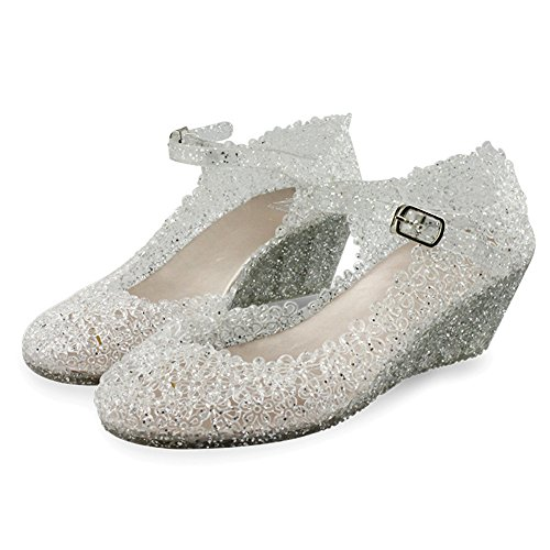 Glass Womens Slippers - Paul Kevin Women's Jelly Wedge Crystal Sandals High Heels Glass Slipper Shoe (US 4.5 (EU 35), Silver)