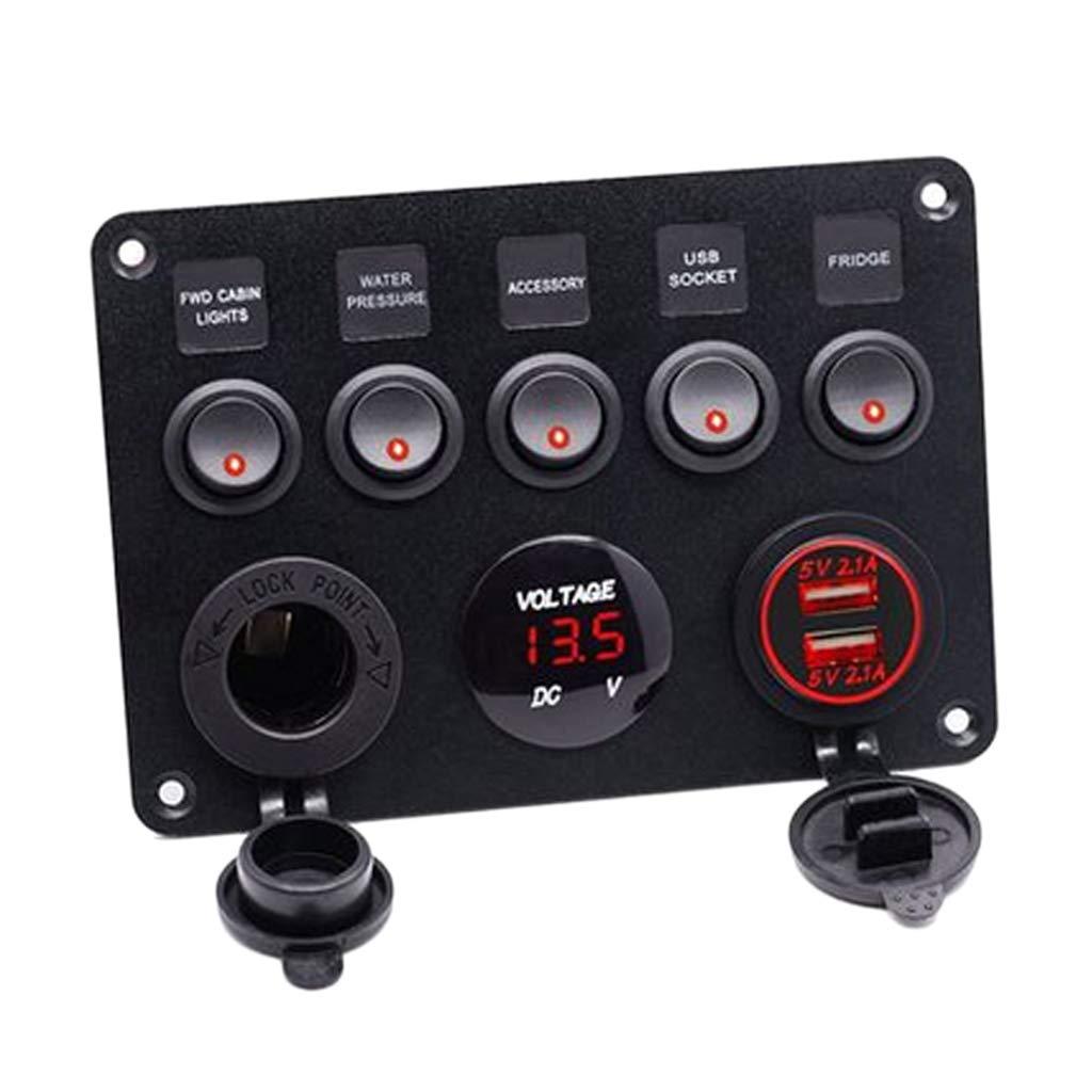 B Blesiya Panneau Interrupteur Multi Prise Voltm/ètre et USB Camping-Car Bateau