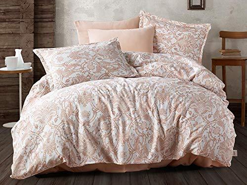 (Bekata %100 Cotton Havana Duvet Cover Single/Twin Size,Beige Floral Themed Bedlinen Set (3 PCS))