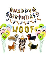 Dog Birthday Party Supplies, Dog Happy Birthday Banner, 4 Walking Dog Balloons, 25 Dog Pattern Balloons, WOOF Letter Balloon, 1 Birthday Hat for Pets Dog Lovers Kids Dog Themed Birthday Party