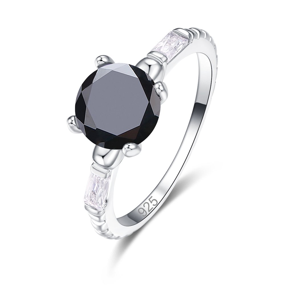 Psiroy 925 Sterling Silver Created Black Spinel Filled Round Cut Thin Solitaire Engagement Ring for Women Size 7