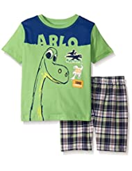 Disney Boys' 2 Piece The Good Dino Screened Patches To Plaid Short Set
