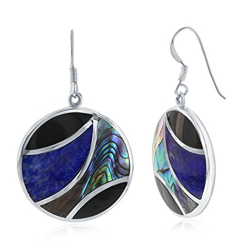 Sterling Silver Natural Abalone, Onyx, & Lapis Round Earrings