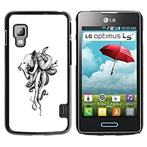 TopCaseStore / Snap On Hard Back Shell Rubber Case Protection Skin Cover - Octopus Monster White Ivory - LG Optimus L5 II Dual E455 E460