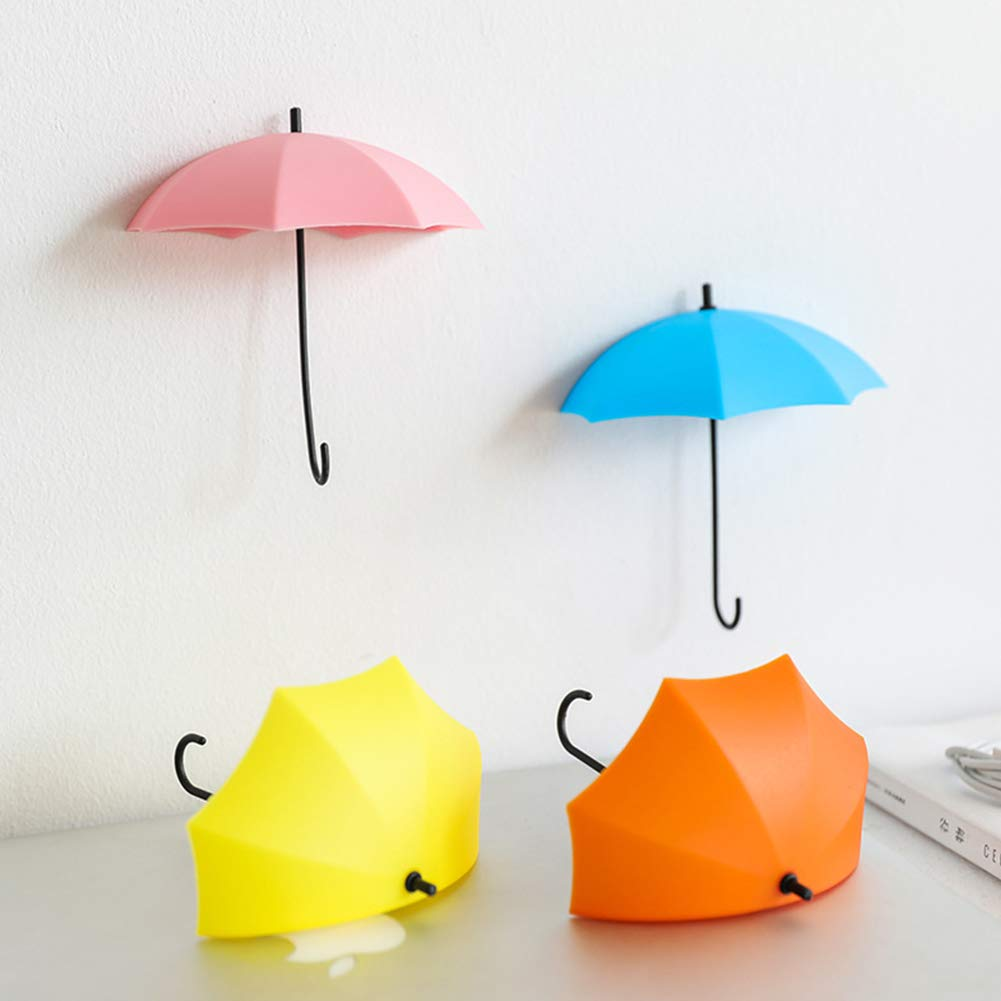Romote 6Pcs Creative-Regenschirm-Form-Wand-Haken Farbe Sortiert Self Adhesive Schl/üsselhalter