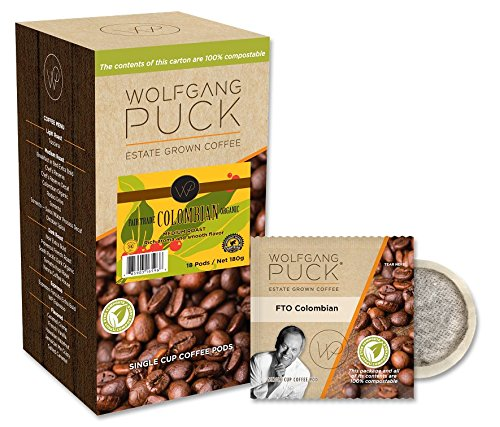 Wolfgang Puck Coffee, Fair Trade Organic Colombian, 9.5 Gram Pods, 18-Count (Pack of 3)