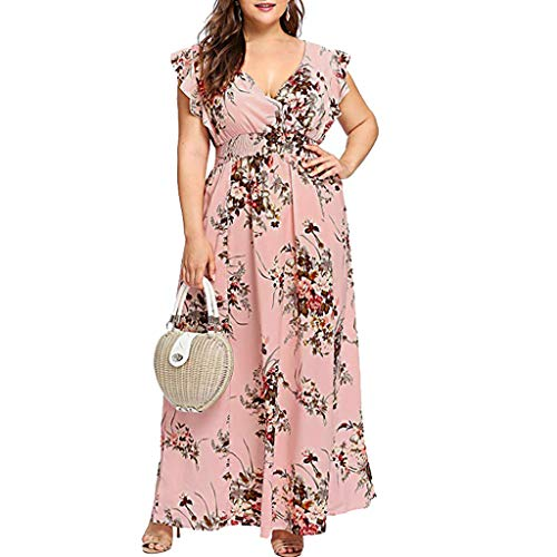 TIFENNY Long Dresses for Women Plus Size Summer V Neck Floral Print Sleeveless Dress Casual Fashion Party Maxi Dress Pink