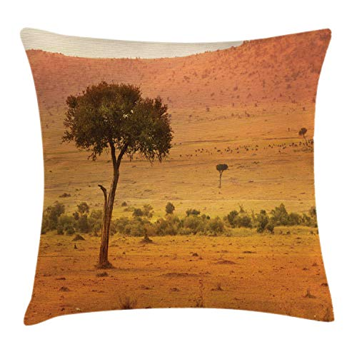 Lunarable Wilderness Throw Pillow Cushion Cover, View of African Savannah at Sunset Barren Landscape with Trees Bushes, Decorative Square Accent Pillow Case, 16 X 16 Inches, Orange Coral Green