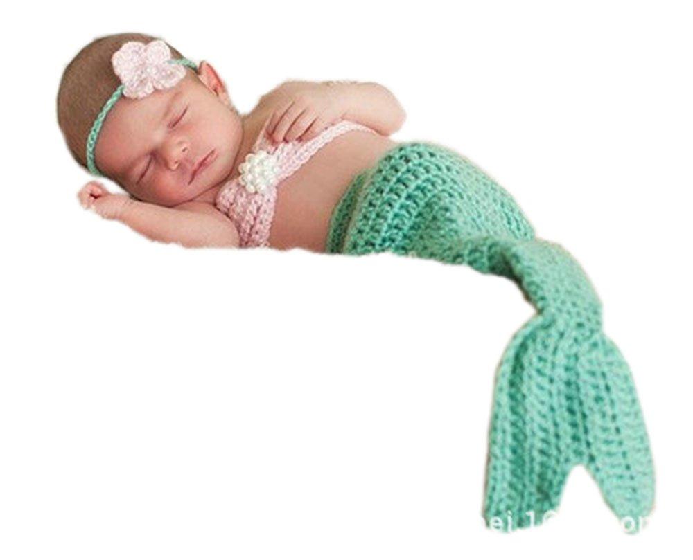 Pinbo Newborn Baby Photography Prop Crochet Mermaid Headband Bra Tail by Pinbo