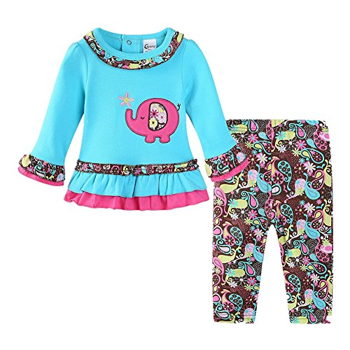 LittleSpring Baby Girls Clothes Outfit Elephant Long Sleeve Top and Flower Pants Set Size 12M Blue
