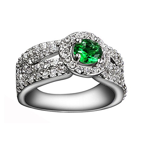 """925 Sterling Silver """"Love Tree"""" Green Cubic Zirconia CZ Wedding Band..."""
