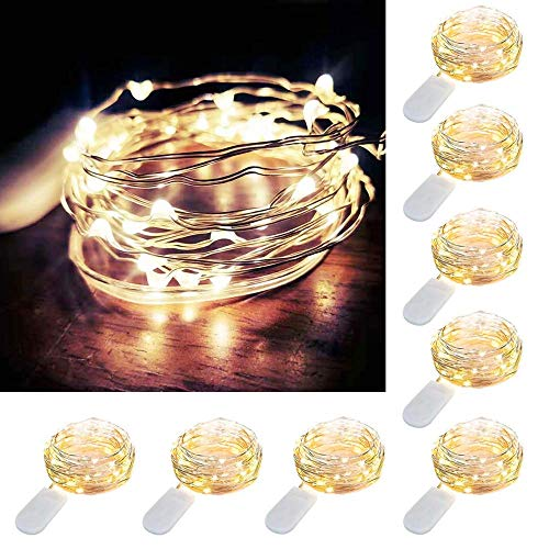 8 PCS Fairy String Lights Battery Operated, 10FT 30 Micro LEDs Starry Lights, Silver Coated Copper Wire Firefly String Lights for Indoor Jars DIY Costume Wedding Home Party Decoration (Warm White)
