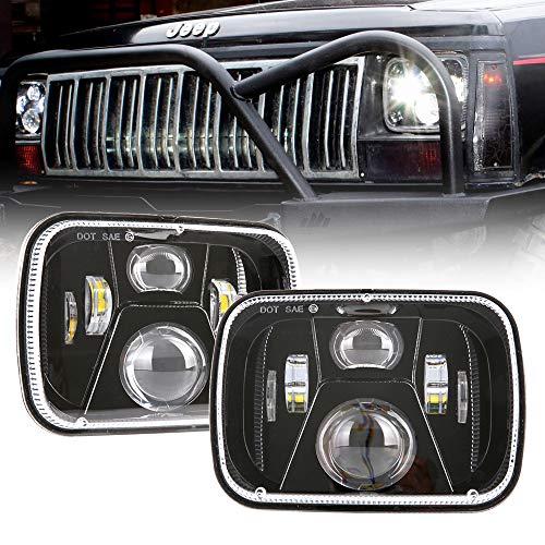 BICYACO DOT 110W 5x7 Led Headlights 7x6 Hi/Low Led Sealed Beam Headlamp for Jeep Wrangler YJ Cherokee XJ Chevy S10 H4 Plug H6054 Headlights H5054 6054 6052 Toyota Pickup(1 Pair)