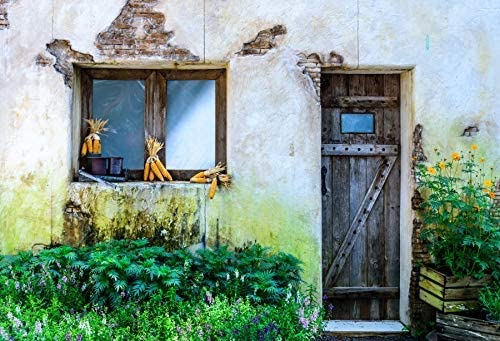 GoEoo 10x8ft Italy Town Backdrop Abandoned Barn Photography Background Grunge Wooden Door Blooming Flowers Wedding Shooting Spring Holiday Party Backdrop Children Kids Adults Portraits Photo Studio