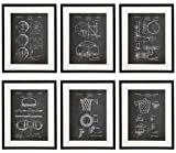 Idiopix Basketball Patent Wall Decor Chalkboard Art Print Set of 6 Prints UNFRAMED